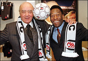 Fulham Owner Mohamed Al Fayed with Pele