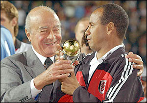 Chairman Mohamed Al Fayed and Ex-Manager Jean Tigana