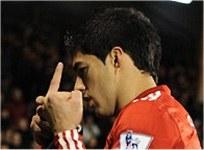 Liverpool striker Luis Suarez and his finger
